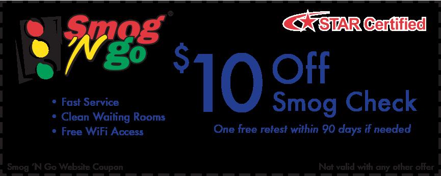 $10 off smog check coupon at Smog 'N Go
